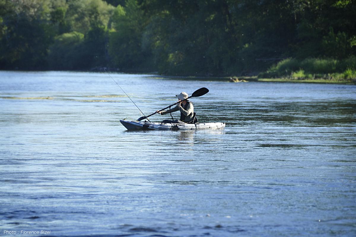 Pêche en kayak sur l'Allier